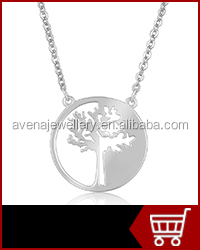 CYD043 Fashion Jewelry Tree of Life Design Cubic Zircon Pendant Pure 925 Sterling Silver Necklace