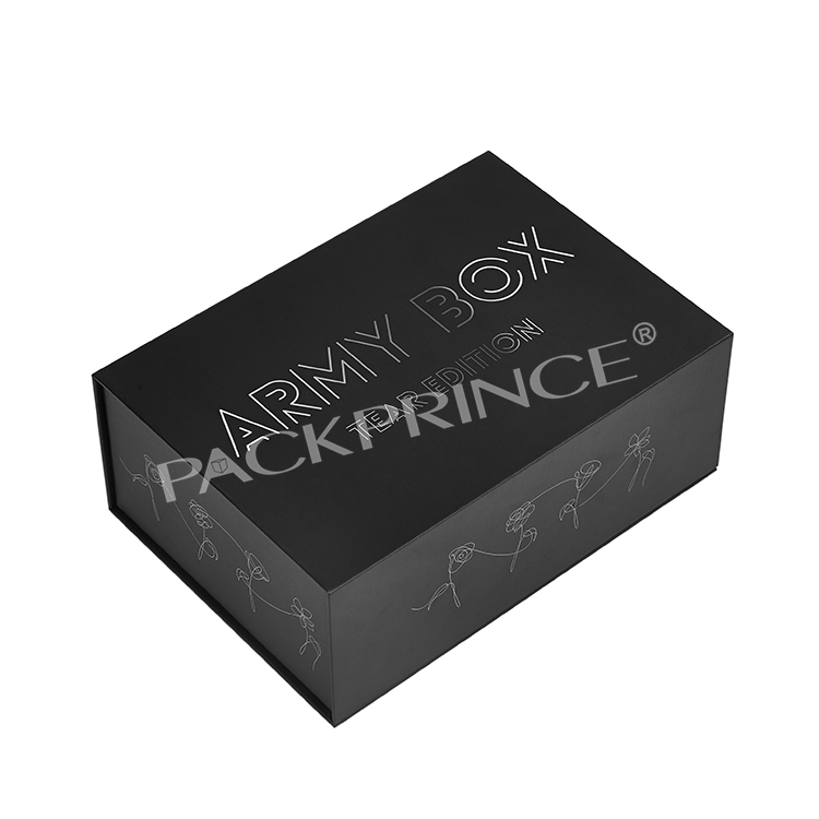 Flap Top Luxury Product Gift Packaging Custom Printed Rigid Matte Cardboard Magnetic Black Box