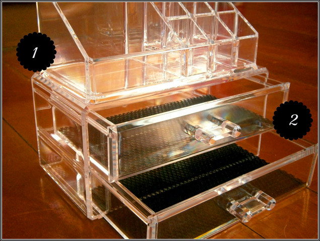 Luxury acrylic display cosmetic box with drawer,clear acrylic makeup box