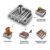 Multifunctional BBQ grill basket with skewer set
