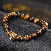 New Natural Lapis Lazuli Tiger Eye Hand String Prayer Beads Silver Bracelets Leopard Lion Head Gold Elasticity Bracelet