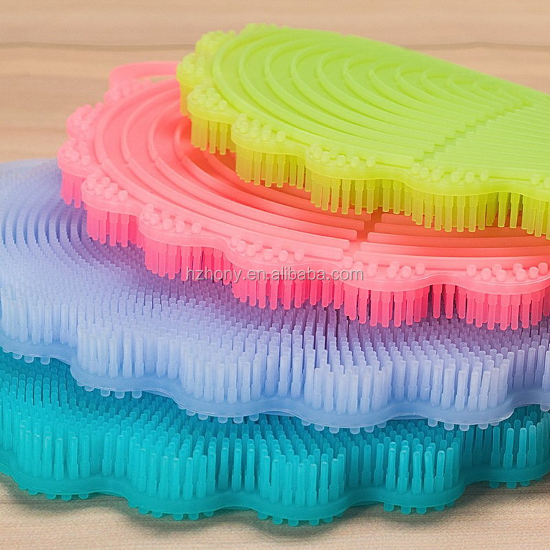 4 Pack Food Grade Silicone Dish Scrubbers Scratch Free Antibacterial Sponges Multi-purpose Cleaning Brushes