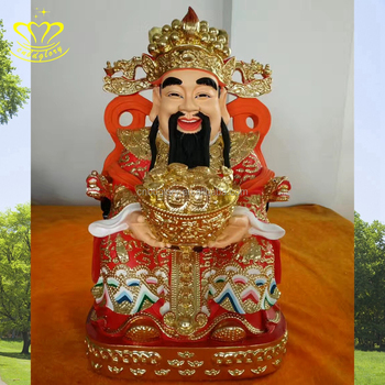 High quality Painting fiberglass Seated Buddha fortune god statues for outdoor decoration