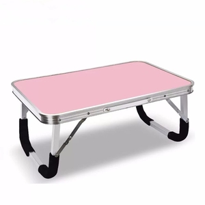 portable lightweight aluminum frame MDF desktop desk foldable design easy to storage small folding table for laptop computer bed