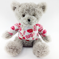 High quality clothes teddy bear with long fur soft material plush toy