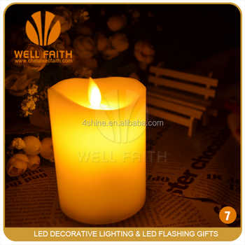 Battery Operated Ivory Flameless Moving Wick Led Candle, Flamelss led votive candle,luminous led moon candle