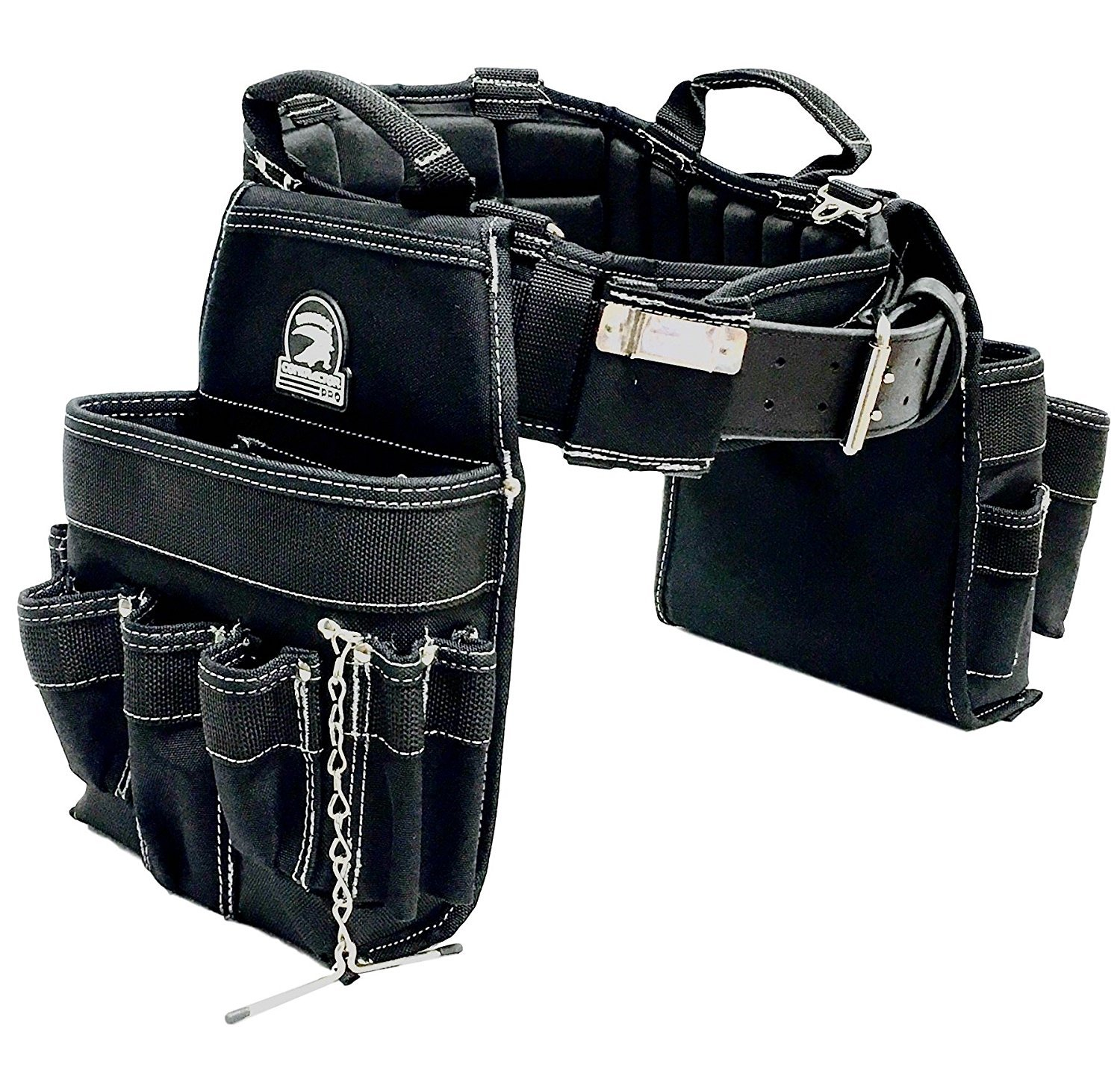 "TradeGear LARGE 36-40"" Electrician's Belt & Bag Combo – Heavy Duty Electricians Tool Belt Designed for Maximum Comfort & Durability – Ideal for All Electricians Tools – Partnered w/GatorBack"