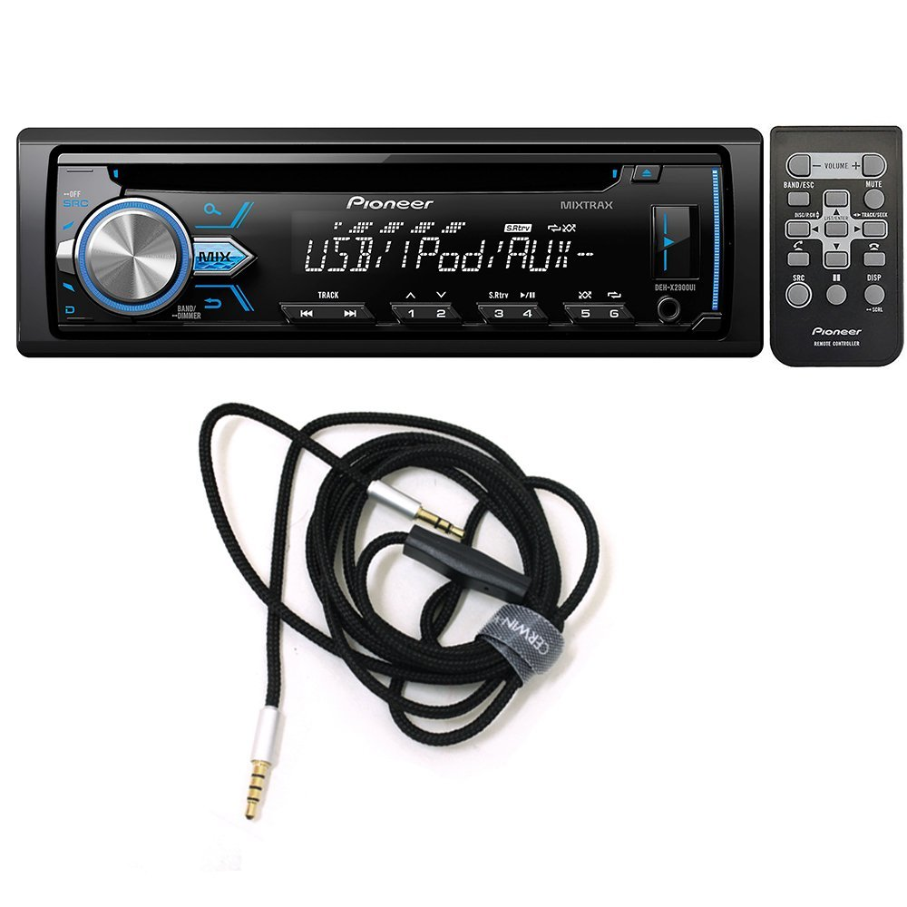Pioneer DEH-X2900UI Single DIN In-Dash CD/AM/FM Car Stereo Receiver w/ Variable Color Illumination + CVM2M6MIC Audio Video Cable 3.5mm hands-free audio cable with built in microphone, 6ft.