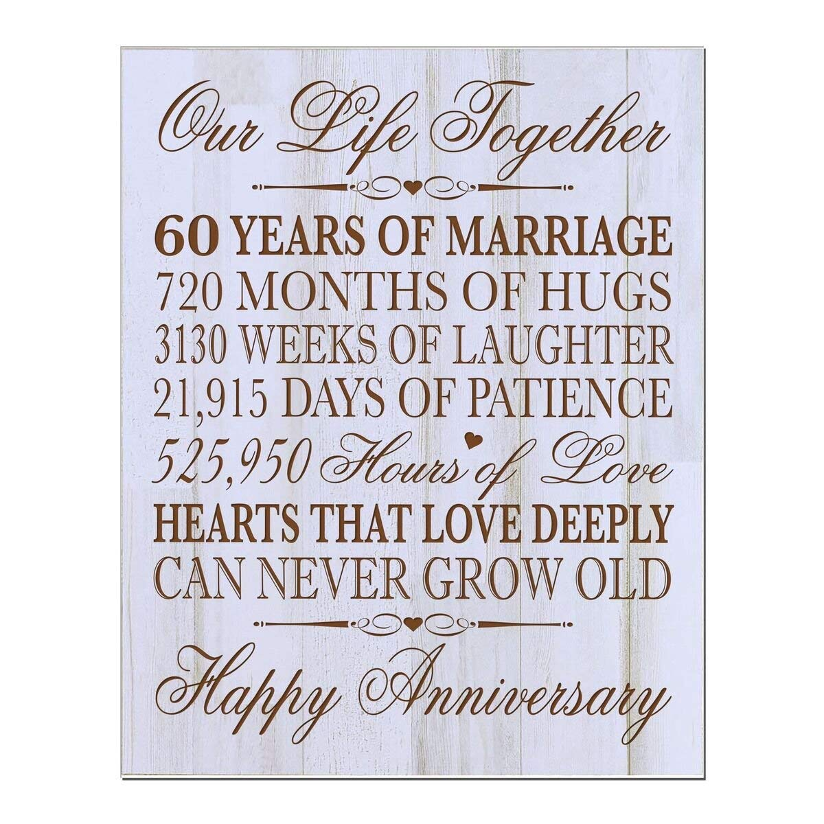 "60th Wedding Anniversary Wall Plaque Gifts for Couple, 60th Anniversary Gifts for Her,60th Wedding Anniversary Gifts for Him 12"" W X 15"" H Wall Plaque By LifeSong Milestones (Distressed wood)"