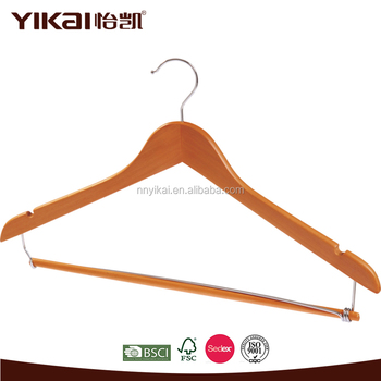 Cherry Wooden Suit Hanger With Locking Bar