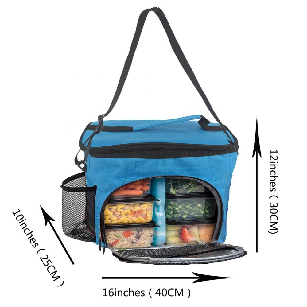 China Manufacture Thermal Eco Friendly Polyester Cooler Custom Meal Prep Insulated Bag With 6 Pack