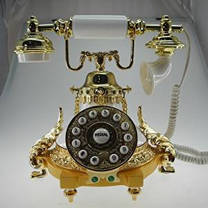 QJYB European antique telephones metal classic European retro home telephone villa for living room decor princess paragraph , white