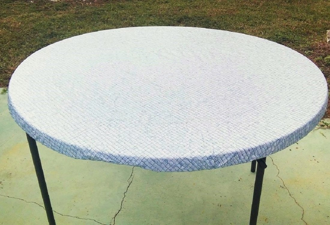 """Large Fitted Round Elastic Edge Mosaic Vinyl Tablecloth Table Cover fits 49"""" to 62"""" BLUE"""