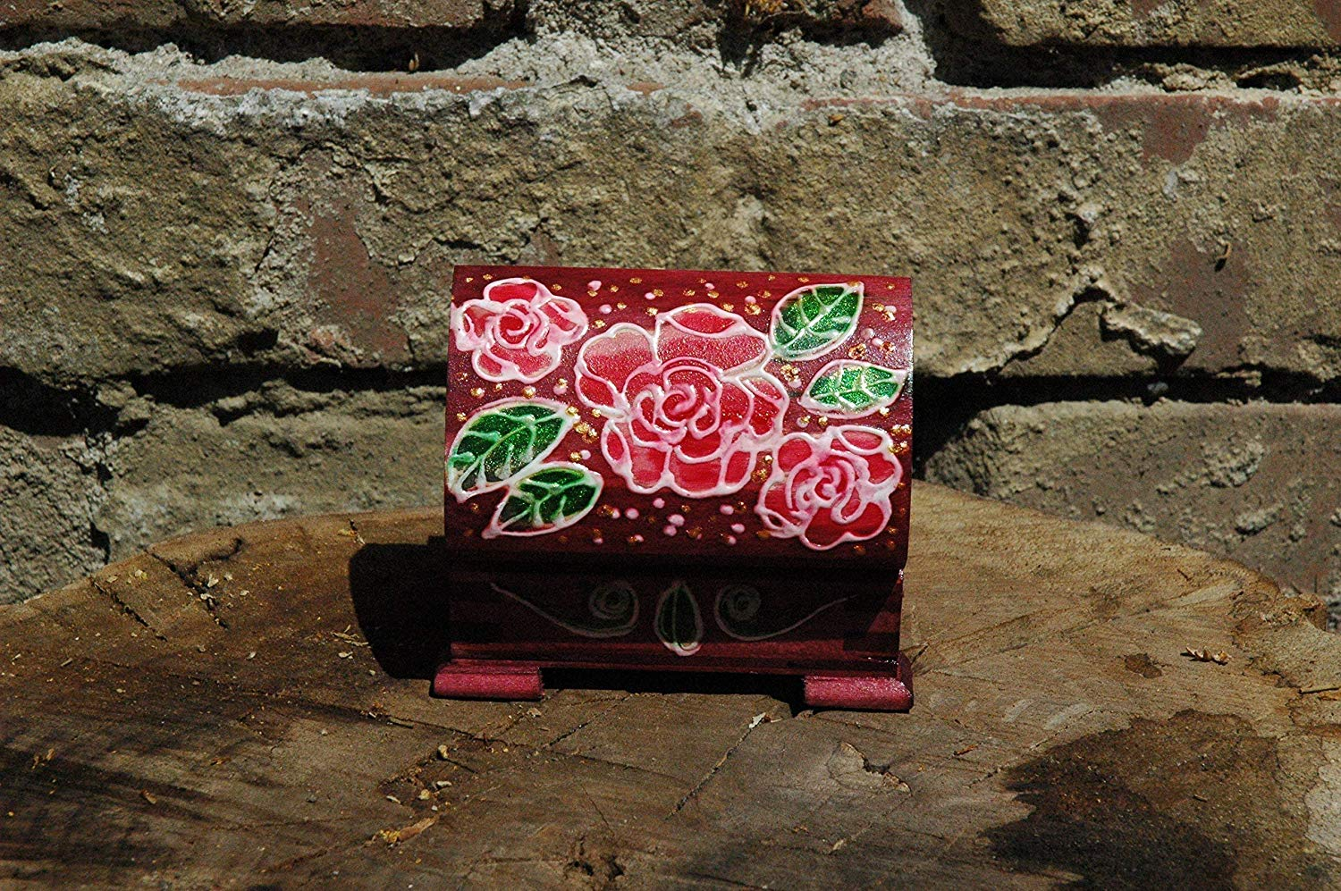 Sale!!!10% Off,Hand Painted Small Jewelry Wooden Red Rose Box, Wooden Box Red Rose, Art Decorative Box, Painted Red Jewellery Box.