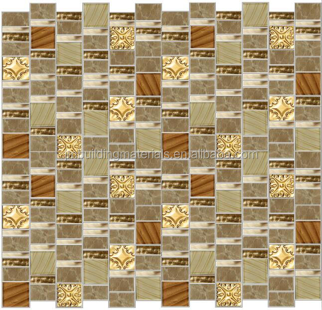 flower patern gold metal mix beige glass mosaic tiles