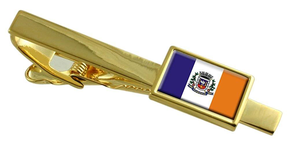 Mangaratiba City Rio de Janeiro State Gold-tone Flag Cufflinks Engraved Box