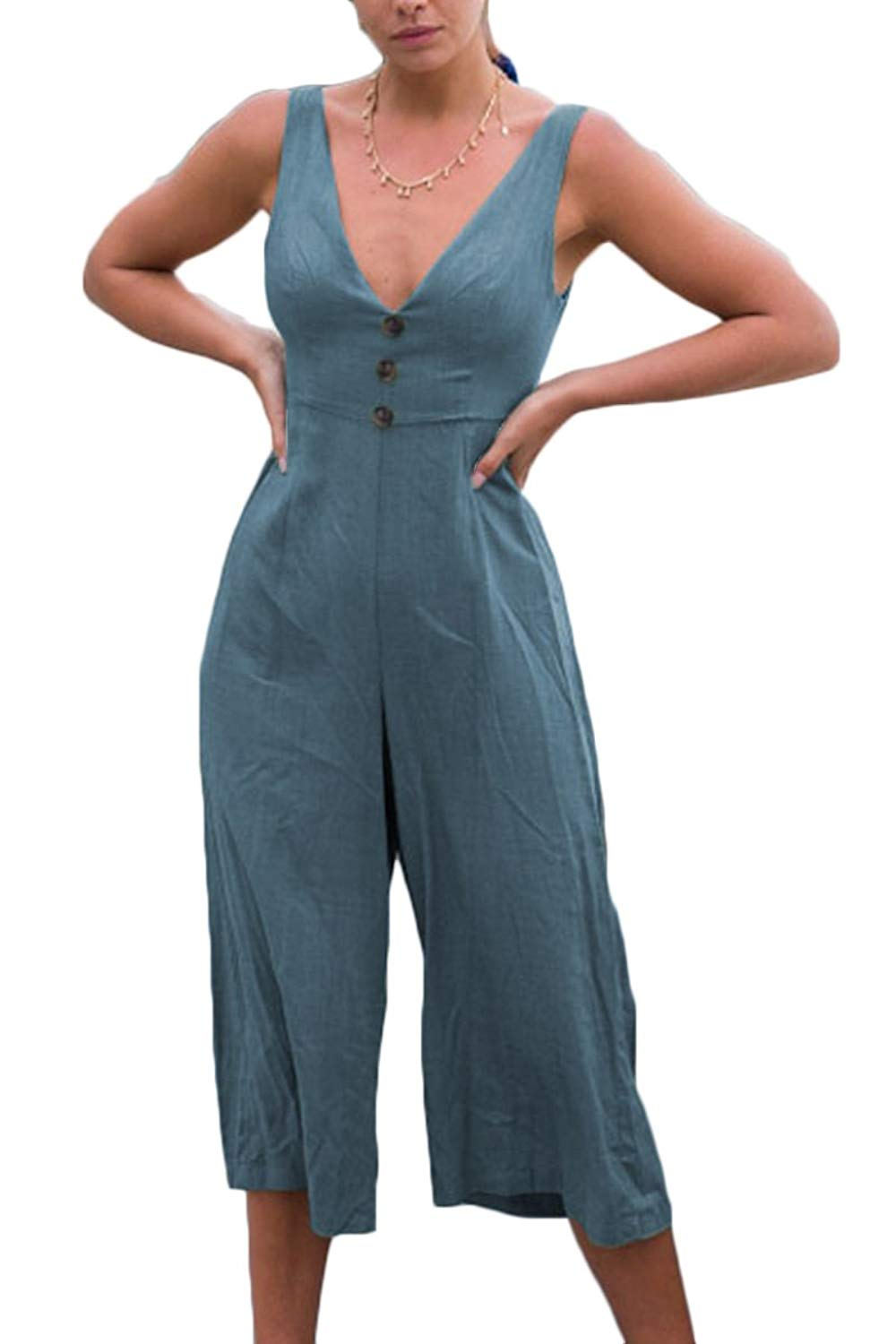 6d8c60bee8d Get Quotations · Haloon Womens Tie Knot Back Plunge V Neck Tank Sleeve  Button Jumpsuit Rompers