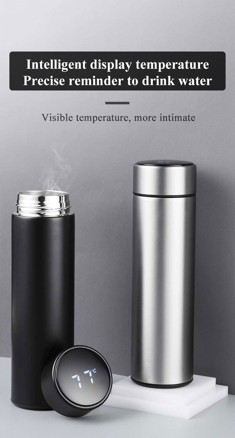 2021 Custom Smart Thermo Reminder Water Bottle with Led Temperature Display in 500ml