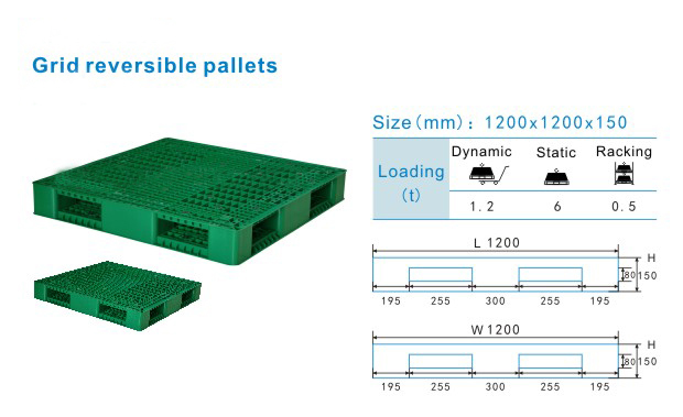 Plastic injection moulded type and grid reversible pallet
