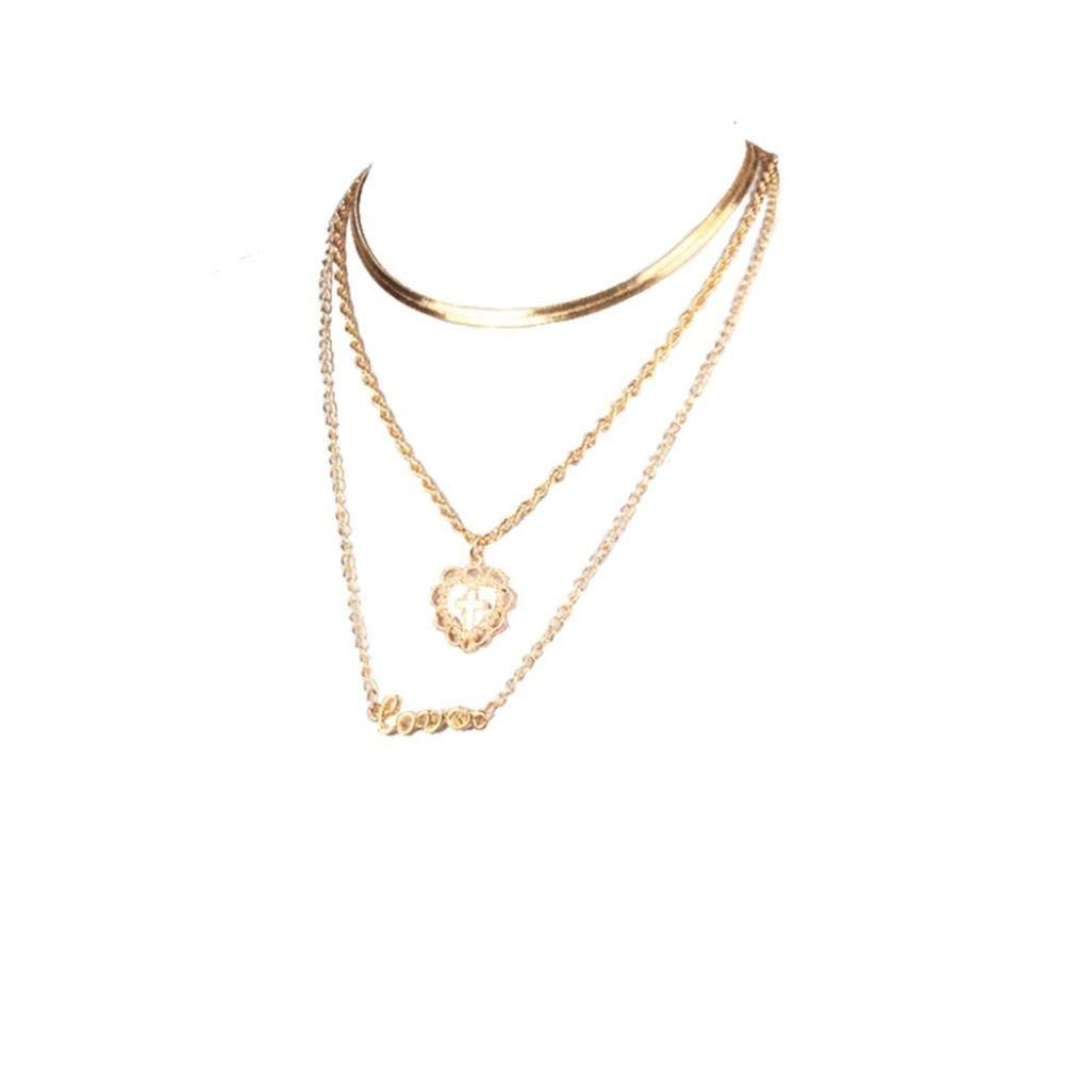LLguz Simple Women Fashionable Personality Alloy Heart Cross Necklace Romantic Fashion Classic Luxury Multi-layer Necklace