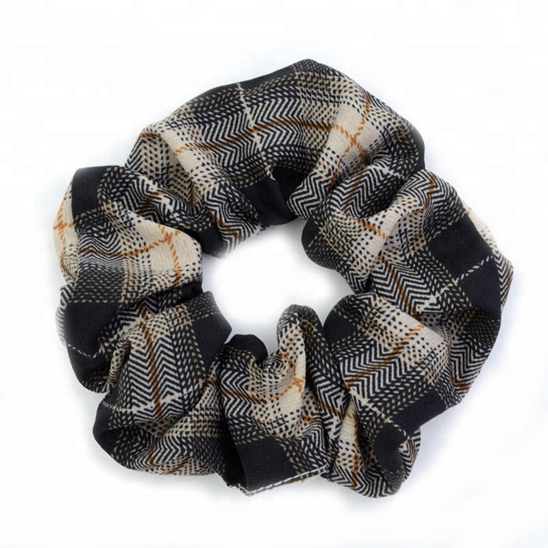 Factory Wholesale Grid Design Lady Ponytail Decoration Hair Band Vintage Scrunchies