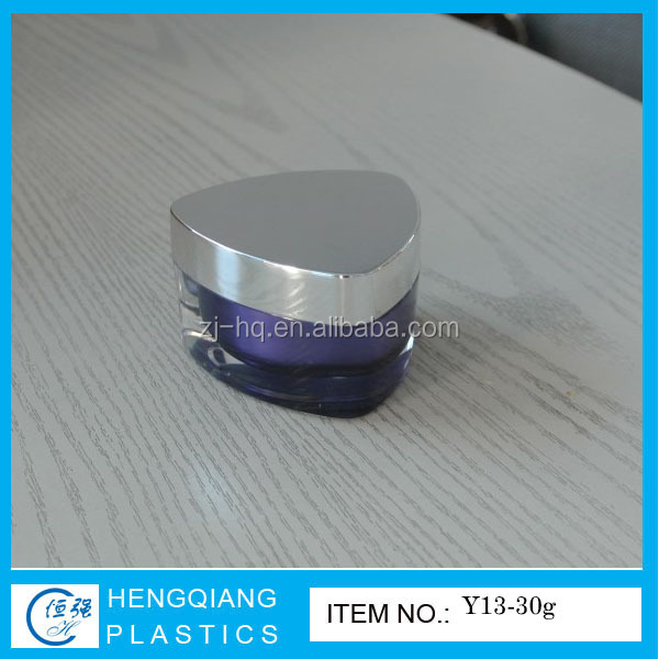 Empty Triangle Jar for Face Cream, Acrylic Cream Jar with UV Silver Screw Cap
