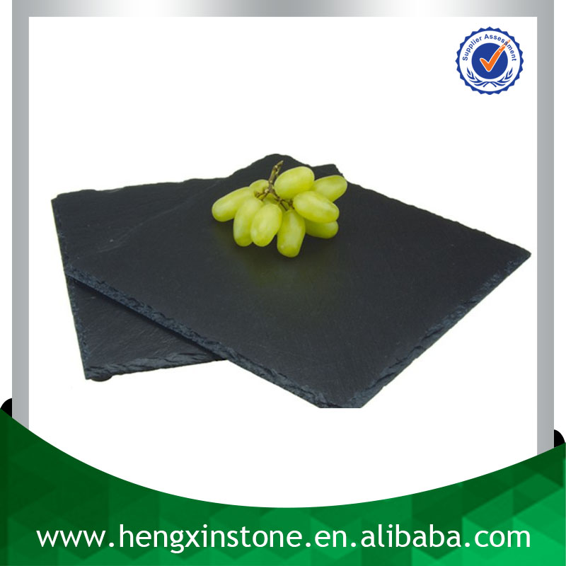 Factory Direct Sales Wholesale Natural 25*25*0.5cm Square Black Slate Serving Dish Stone Dish With Eva Feet
