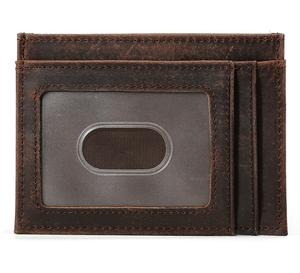 bc852fdeff82 Wholesale slim wallet leather men short card wallet ID card case credit  card cash holder vintage small wallet