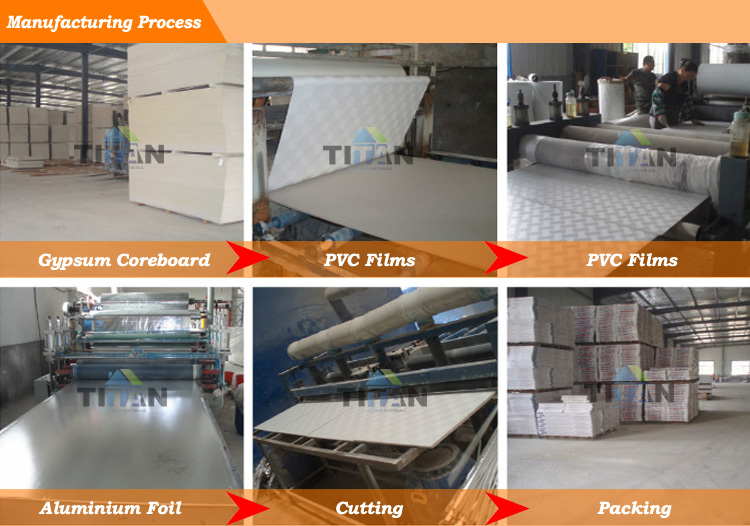 High Density Waterproofing Gypsum Ceiling Board Vinyl