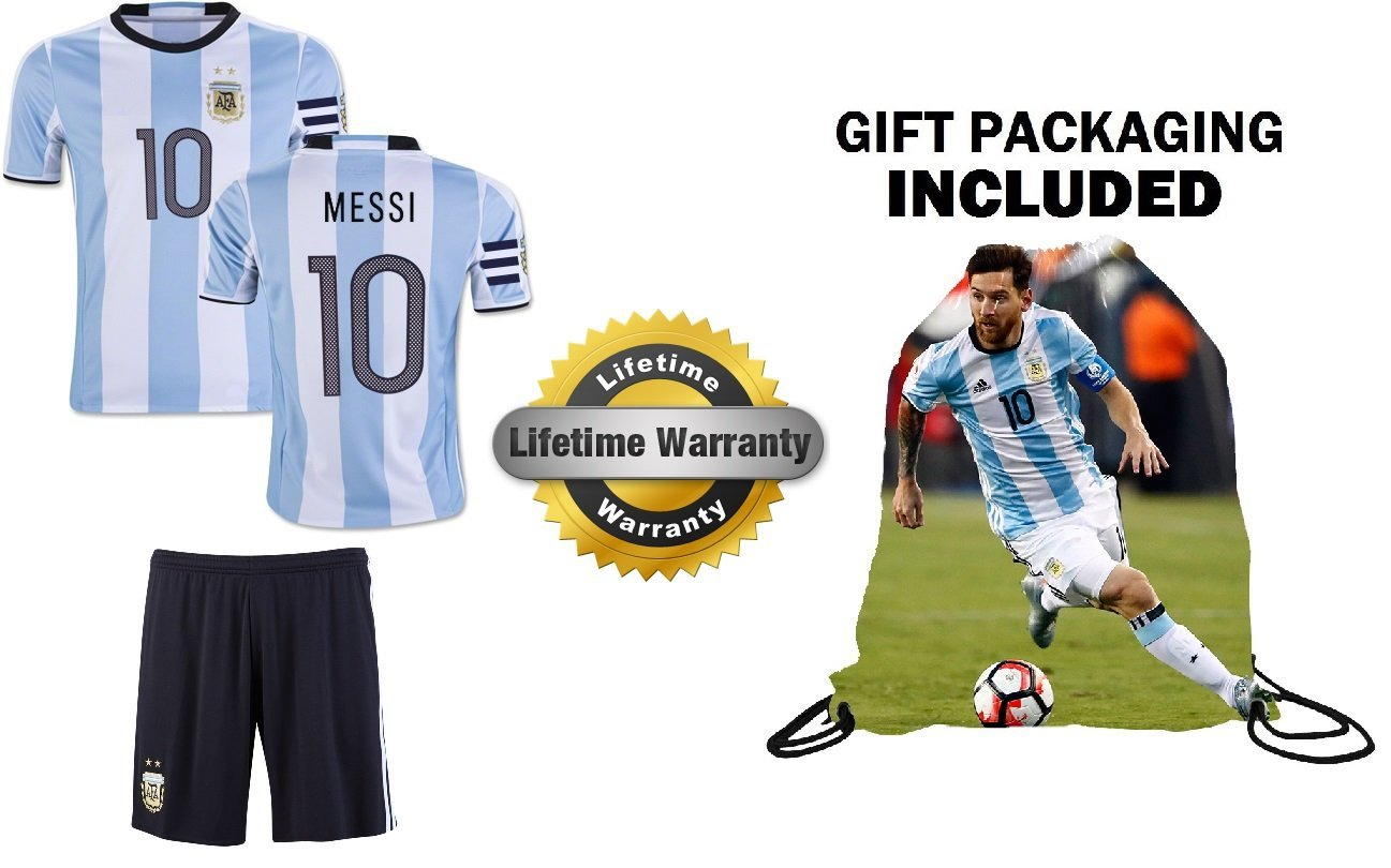Get Quotations · Leo Messi  10 Argentina Youth Kids Soccer Jersey with  Captain Band ✓ Shorts ✓ Picture faa3d6630