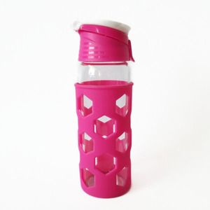 Promotional gift 420ml glass drinking bottle glass water bottle free sample