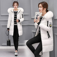 Foreign trade ladies warm hooded cotton-padded clothes women slim long down winter coat