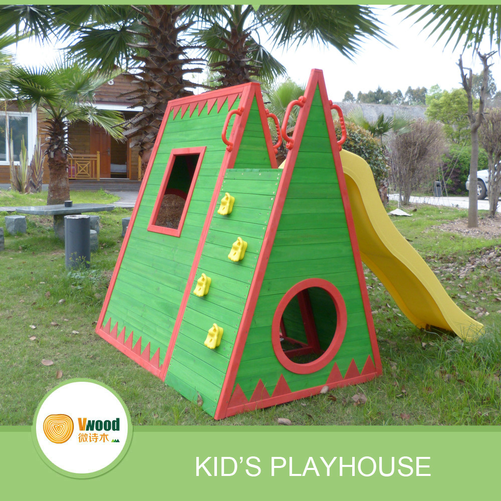 2016 NEW kid's wooden playhouse with slide and climbing