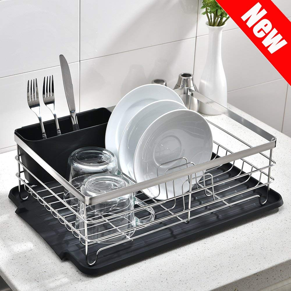 Get Quotations · POPILION Quality Kitchen Sink Side Draining Chrome Stainless  Steel Dish Drying Rack,Dish Rack With