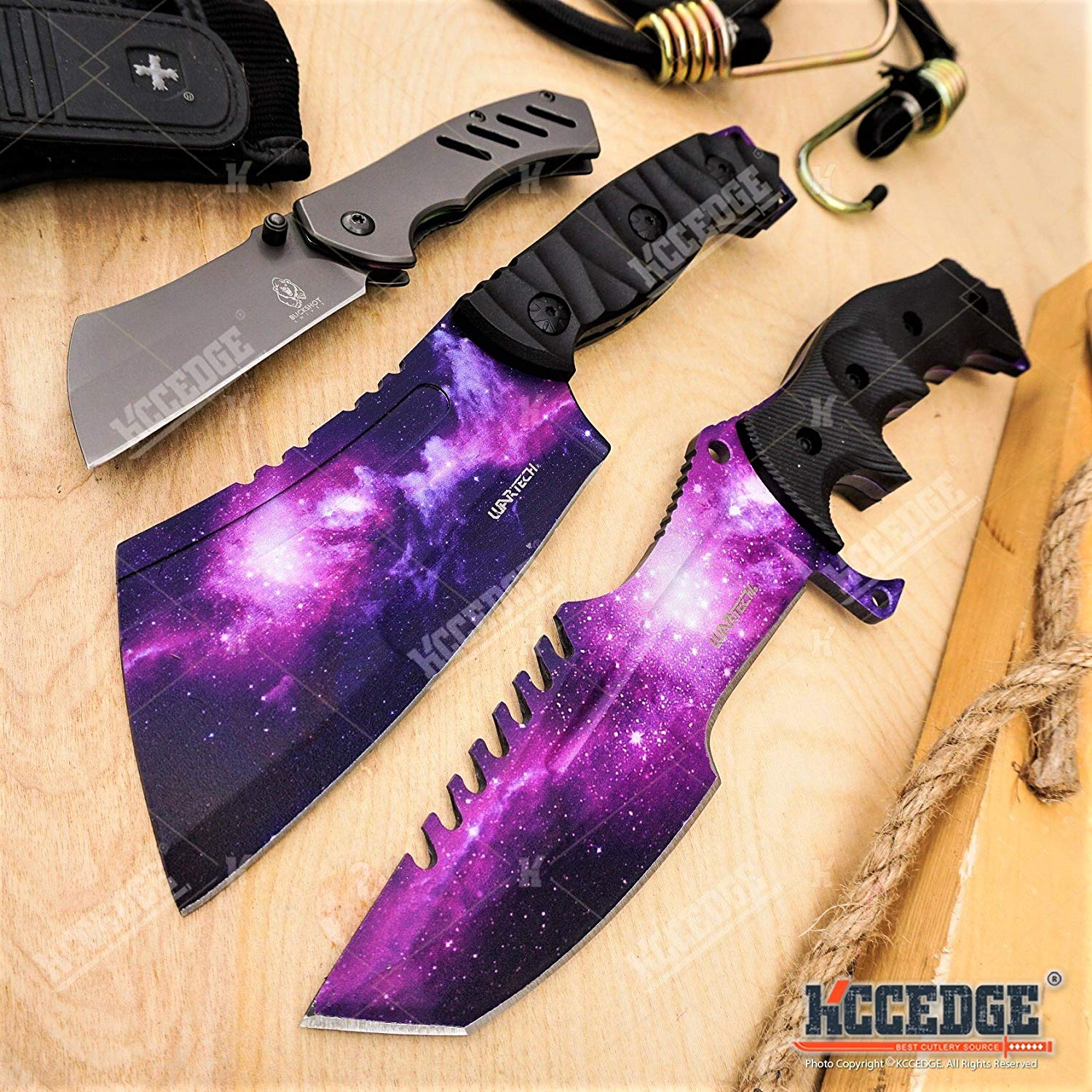 "WarTech 3PC GALAXY COMBO SET 11"" CSGO TACTICAL KNIFE + 9.5"" CLEAVER FIXED BLADES + 6.5"" BUCKSHOT CLEAVE POCKET KNIFE OUTDOOR SURVIVAL HUNTING RAZOR BLADE"