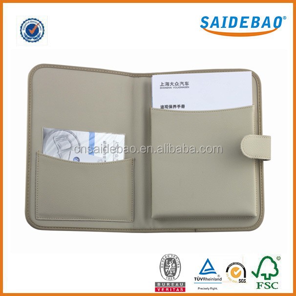 Dongguan factory direct customized Leather file folder with two pocket,Beautifully made briefcase portfolio for car