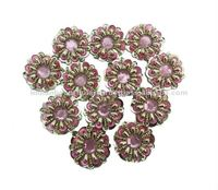 Big Copper Beaded Pink Stone Sequin Applique Patch