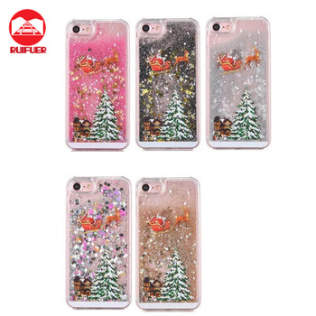 newest 3d flowing waterfall liquid glitter stars christmas phone case for iphone 7 6 plus xmas