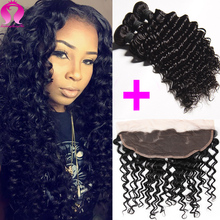 Brazilian Hair 3 Bundles And Closure Brazilian Deep Curly Virgin Hair With Frontal Brazilian Virgin Hair