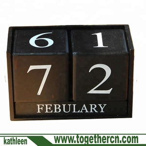 HOME Shabby Chic Wave and Spot Perpetual Desk Calendar Wood Blocks