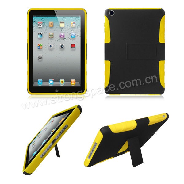 Sleeve360 Free Rotating Smart Stand Handstrap Strong Hard Protector Case for iPad Mini - Black/Yellow