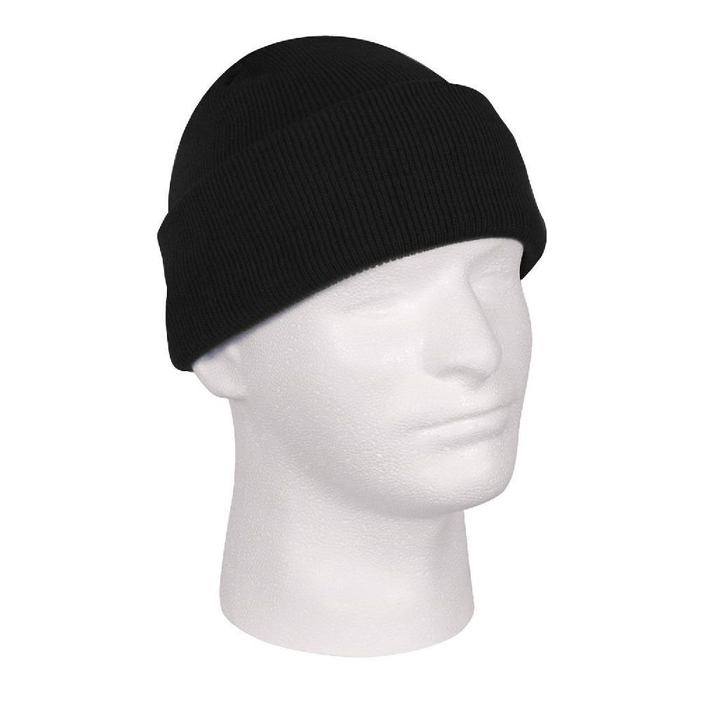 376e99270ed Get Quotations · Solid Black Deluxe Military Tactical Watch Cap Beanie Knit  Stocking Hat