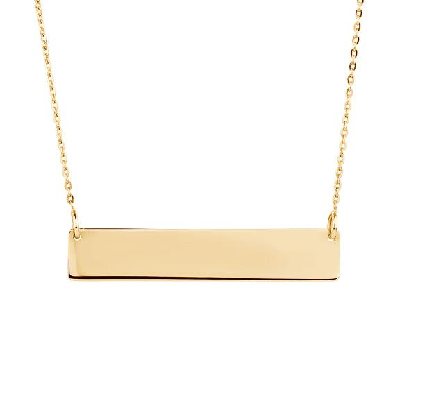 High polish zinc alloy material 14k gold plated blank bar necklaces