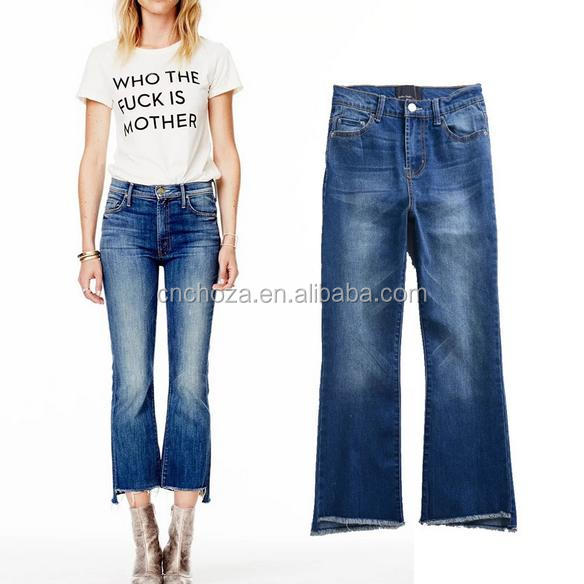 Z57961B Women Casual Style Loose Straight Ladies Scratch Jeans Top Design