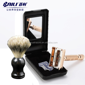 Beautiful Wooden Handle Badger Brush De Safety Razor Shaving Set