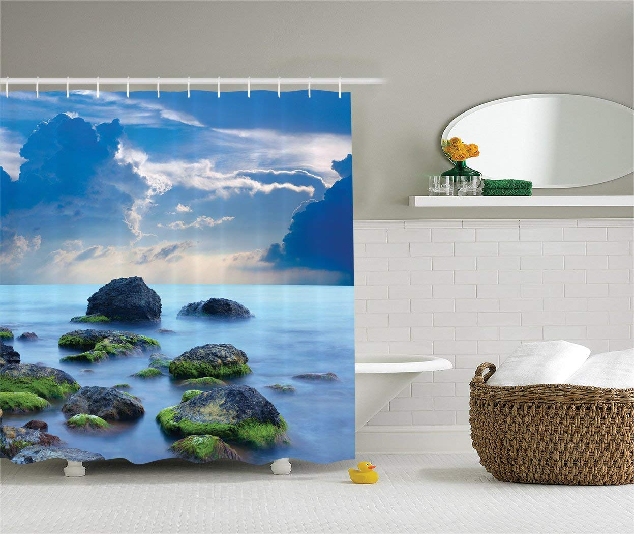 Get Quotations Ambesonne Sky Blue Shower Curtain Spa Decor By Sea Stones And Mystic Seaside Caribbean Photo