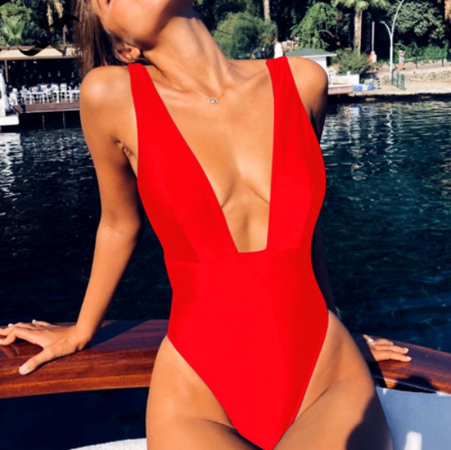 QY3814 Just Arrival Solid Color Sexy V Neck One Piece <strong>Swimwear</strong> <strong>Women</strong>