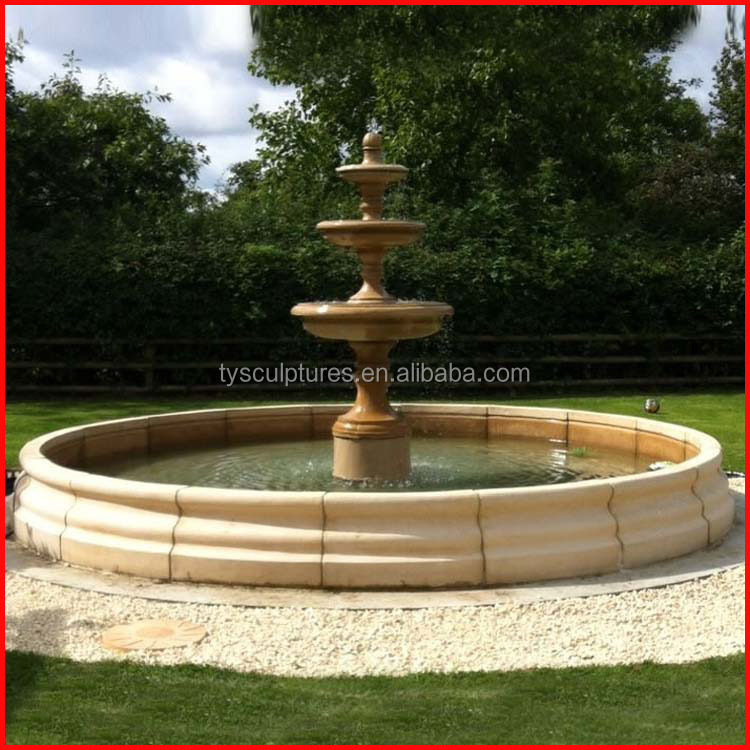 Large stone base pool outdoor marble water fountain mold for sale with competitive price