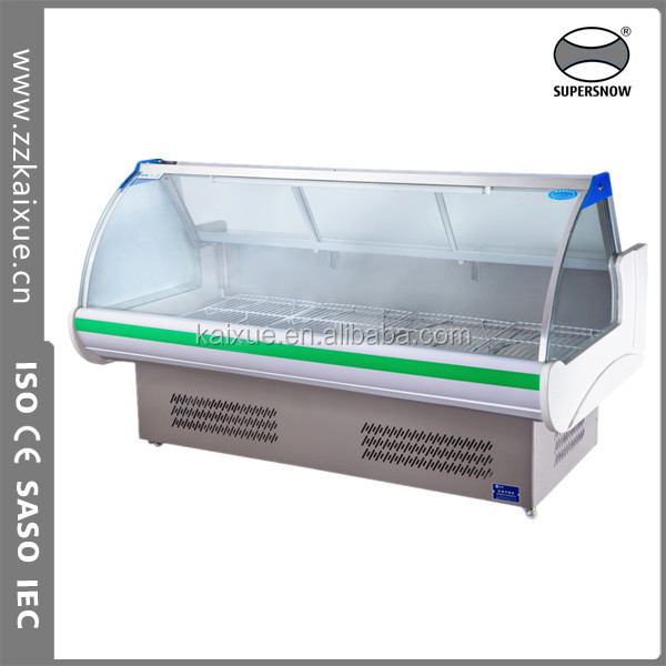 curved glass beef and pork display cooler refrigerator