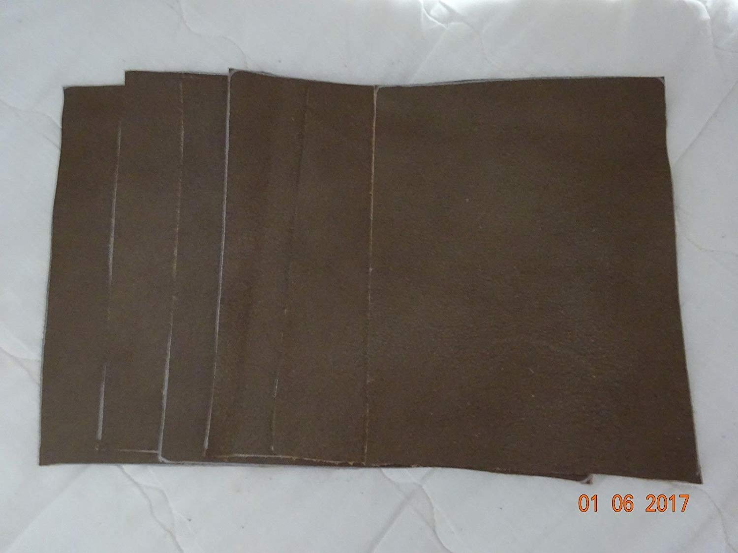 Scrap leather Genuine Cowhide Khaki or Light Brown 6 pieces 8x6 New